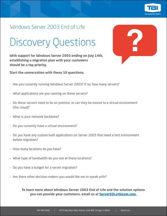 Windows Server 2003 Discovery Questions