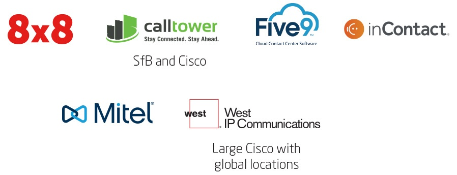 8x8, CallTower (SfB and Cisco), Five9, inContact, Mitel, West (large Cisco w/global locations)